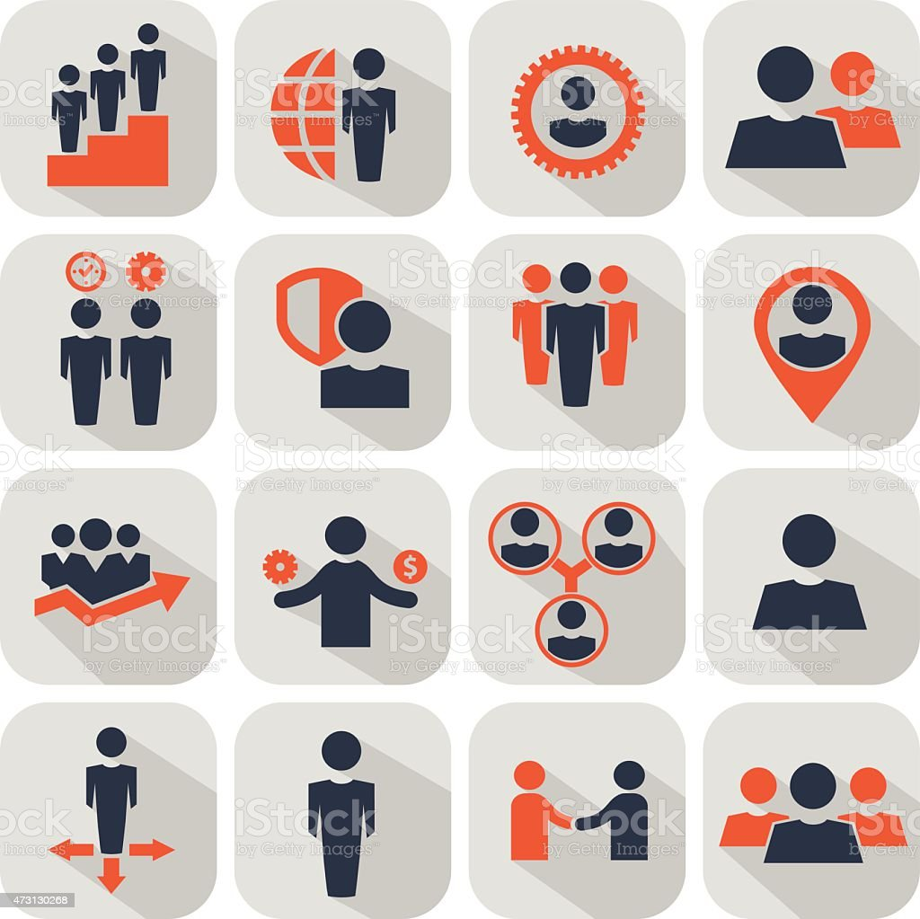 Several icons of people conducting business vector art illustration