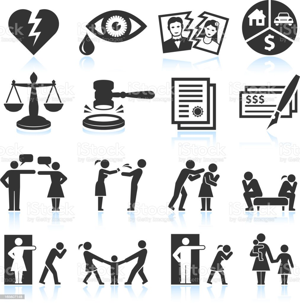 Several icons that symbolize relationship trouble vector art illustration