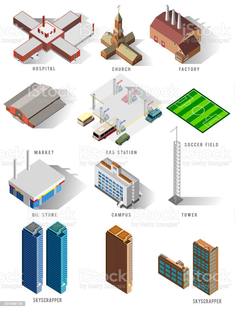 several isometric building set vector art illustration