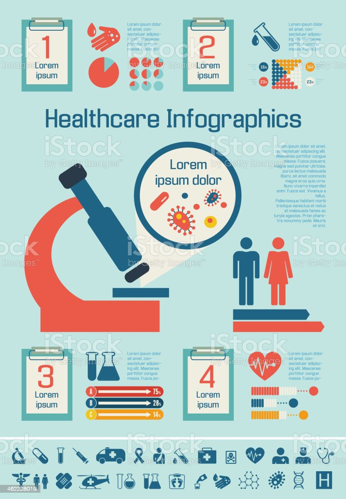 Several medical-related infographic icons vector art illustration