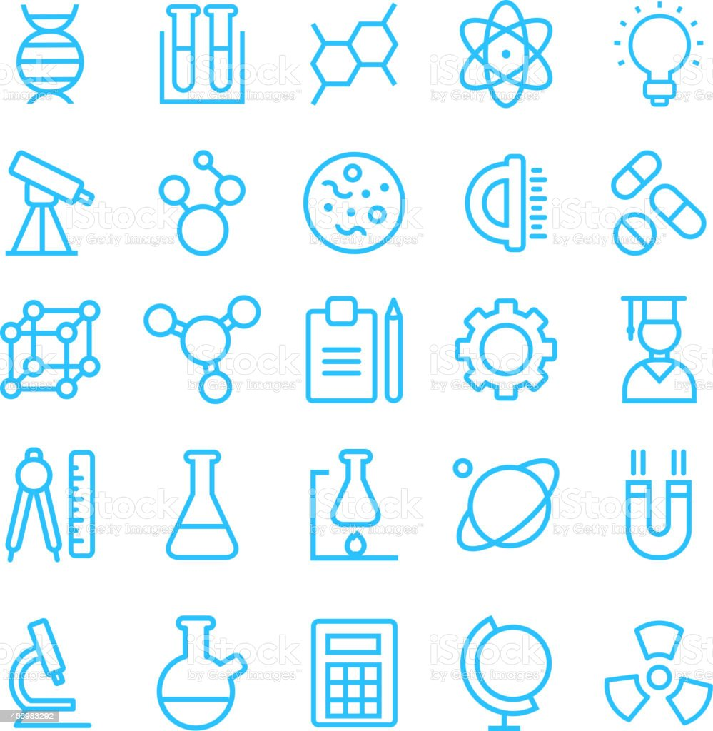 Several pale blue science related icons vector art illustration