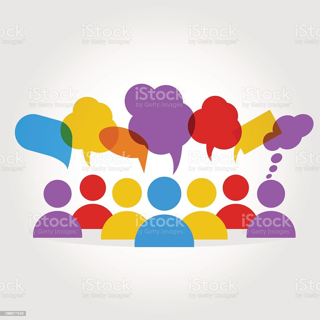 Several people with thought bubbles vector art illustration