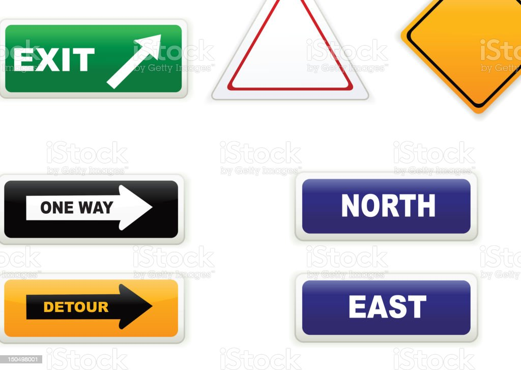 Several road warning hazard and direction signs vector art illustration