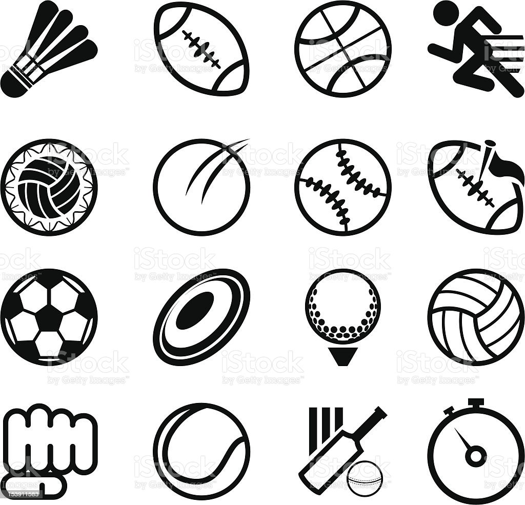 Several sports related icons on a white background vector art illustration