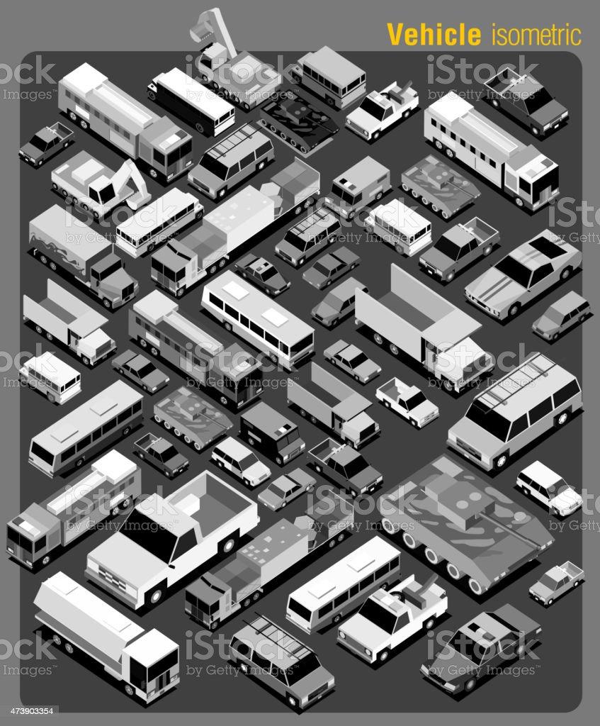 several transportation isometric greyscale vector art illustration