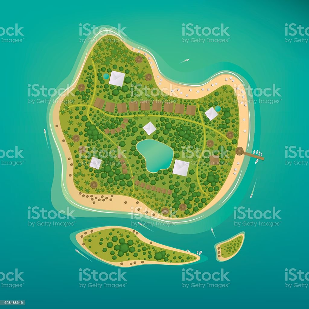Several tropical islands in the open ocean vector art illustration