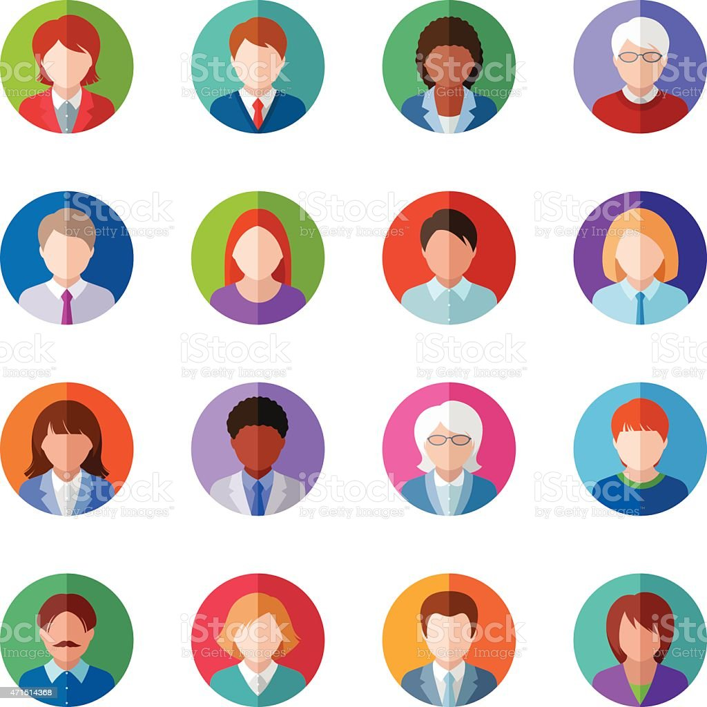 Several vector images of people icons vector art illustration