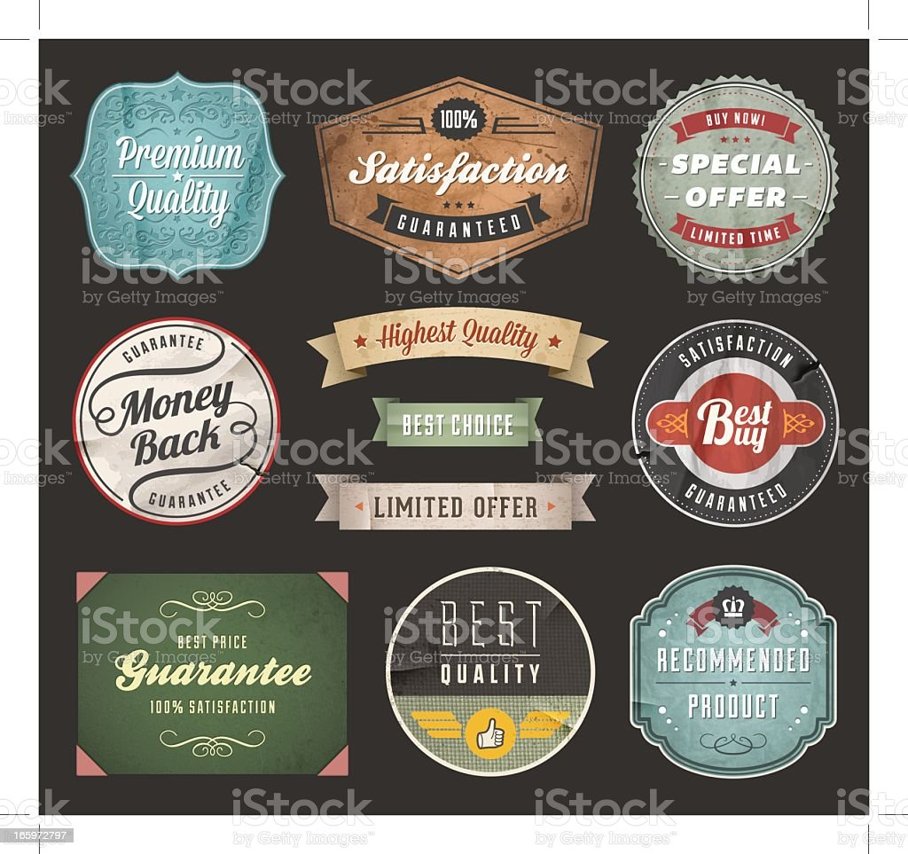 Several vintage labels for sales royalty-free stock vector art
