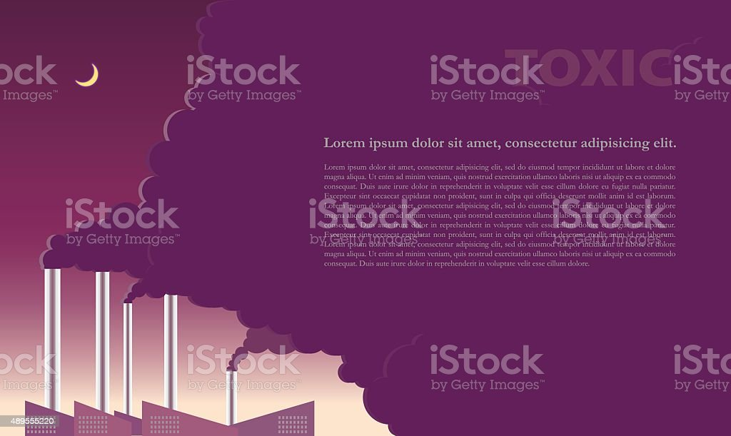 Severe ozone pollution from factory direct. vector art illustration
