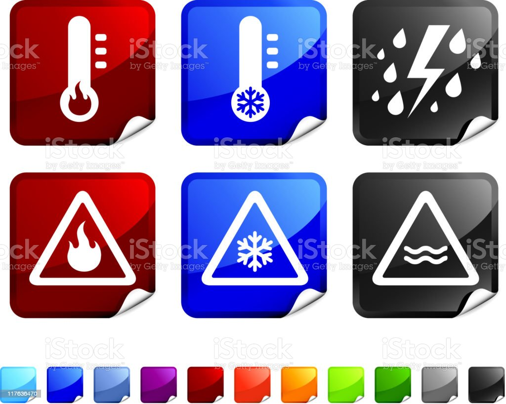 severe weather warning royalty free vector icon set stickers royalty-free stock vector art