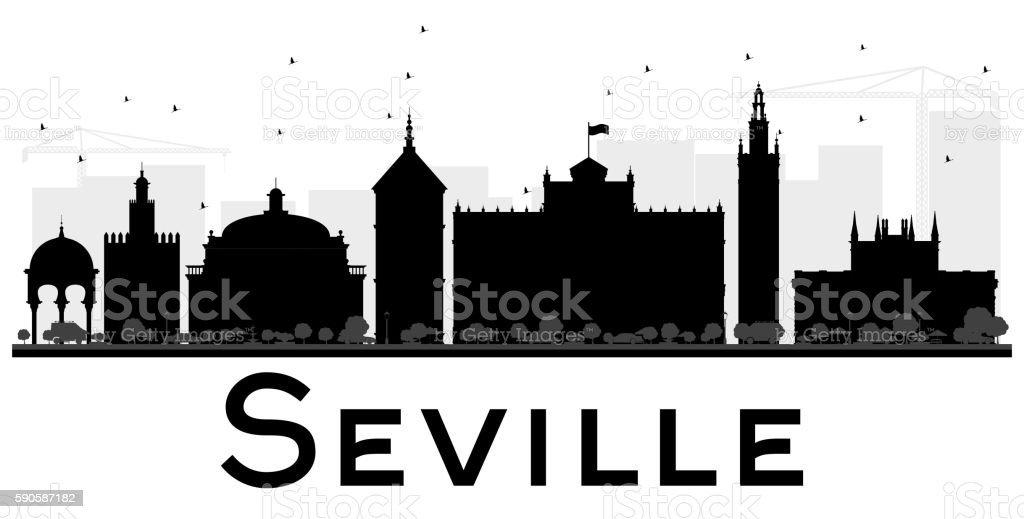 Seville City skyline black and white silhouette. vector art illustration