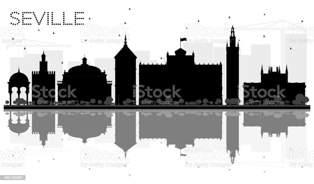 Seville City skyline black and white silhouette with reflections. vector art illustration