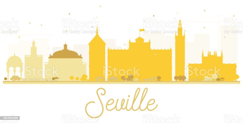 Seville City skyline golden silhouette. vector art illustration