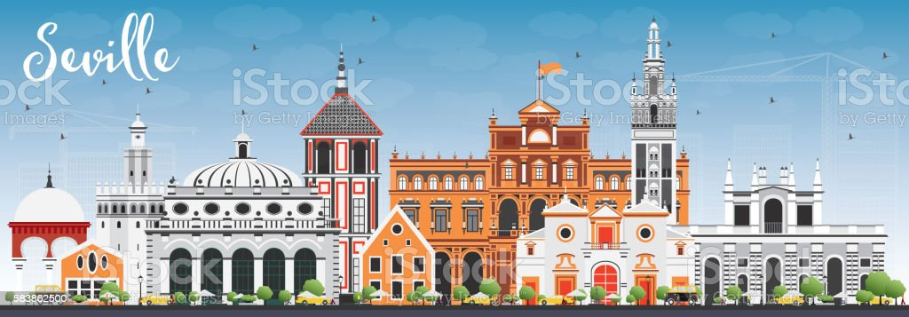 Seville Skyline with Color Buildings and Blue Sky. vector art illustration