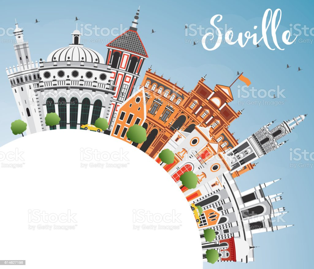 Seville Skyline with Color Buildings, Blue Sky and Copy Space. vector art illustration