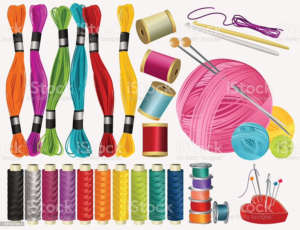 Sewing accessories vector art illustration