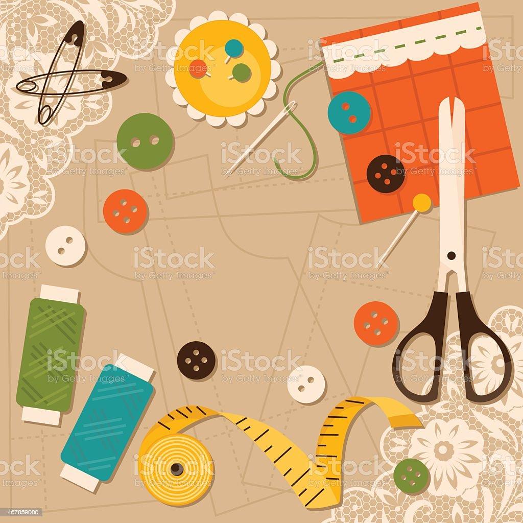 Sewing accessories. Vector illustration vector art illustration