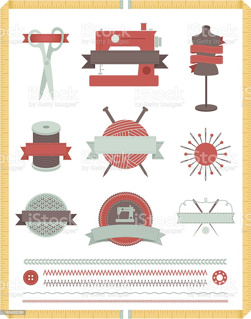 Sewing and Knitting Design Elements vector art illustration