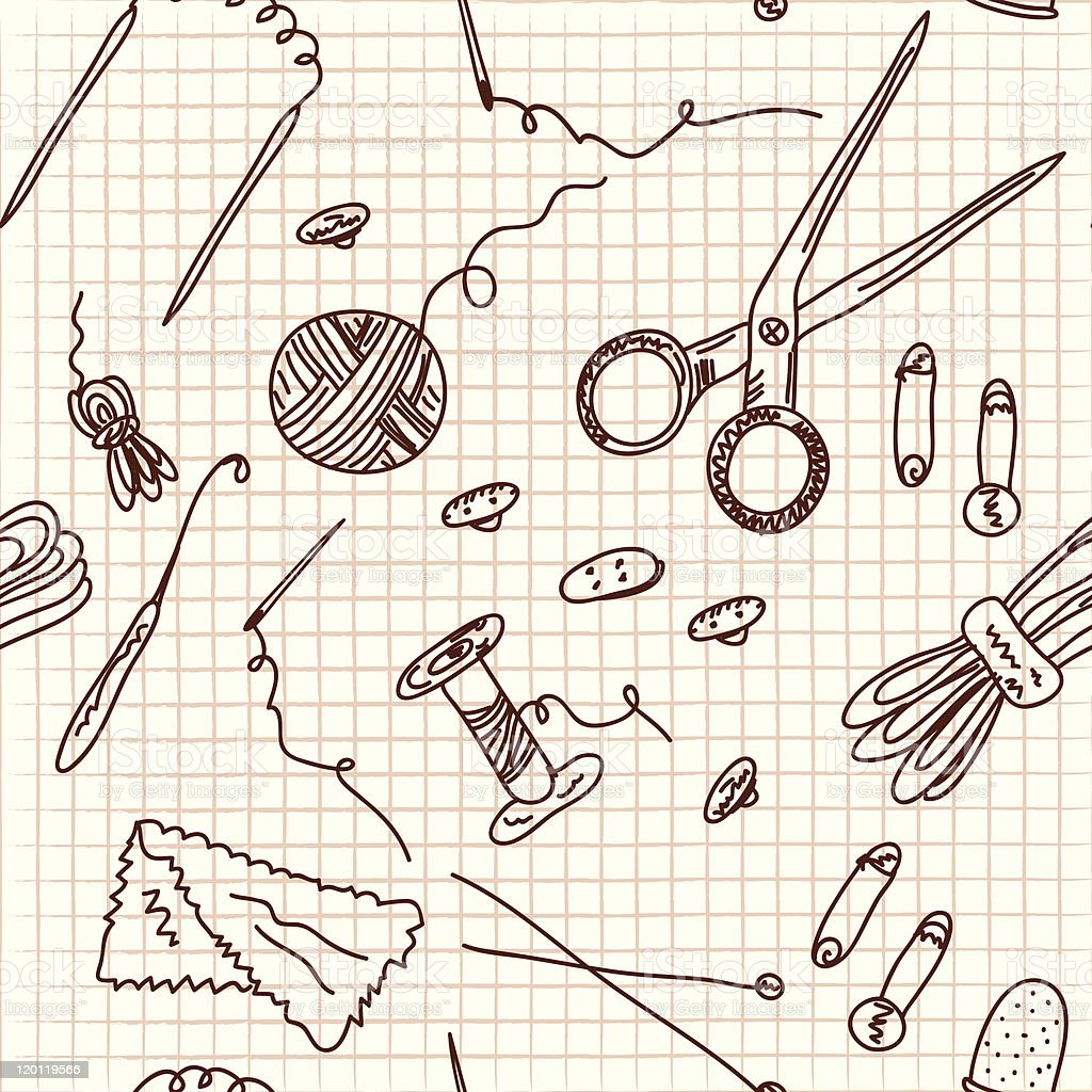 Sewing and knitting doodle seamless pattern vector art illustration