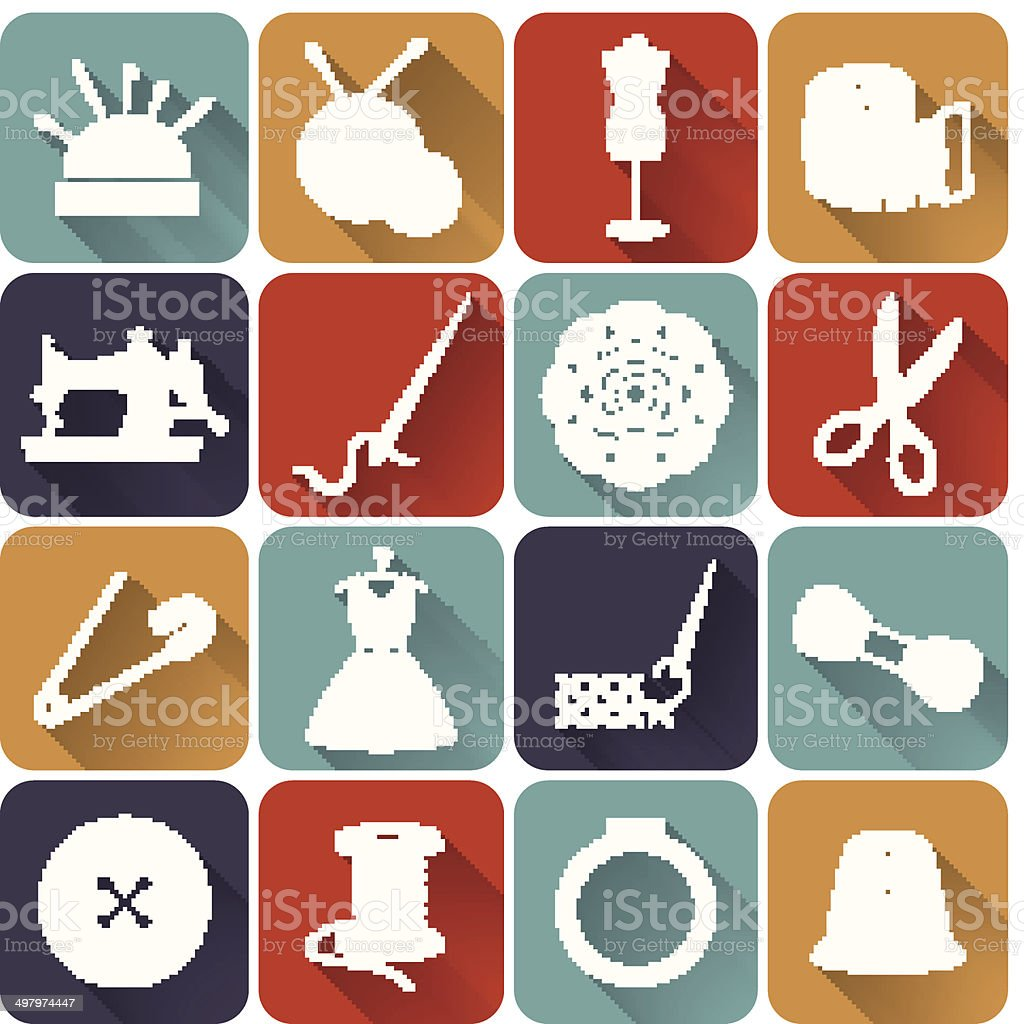 Sewing and needlework flat icons. Vector set. vector art illustration