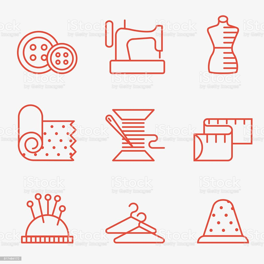 Sewing and needlework icon vector art illustration