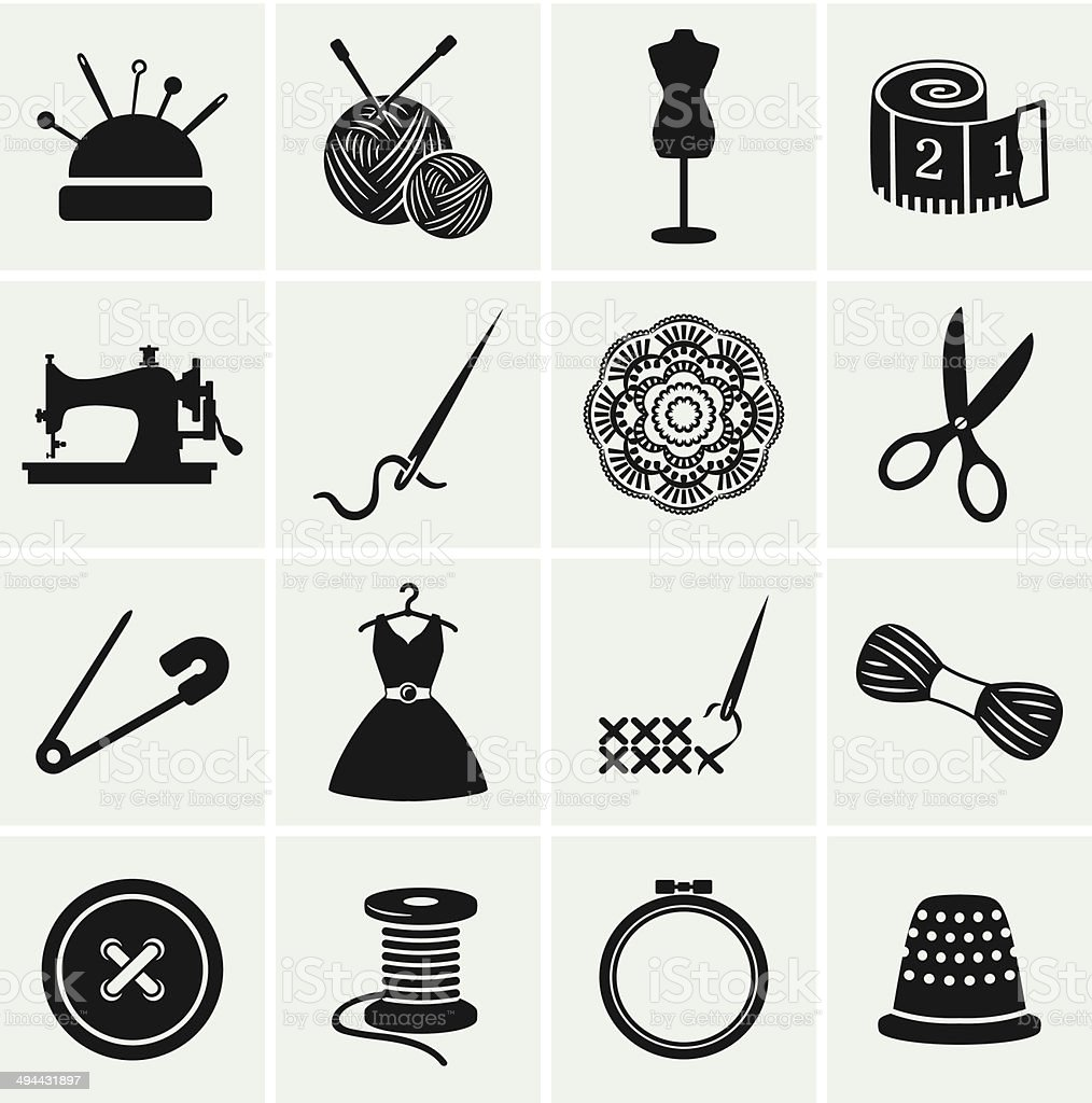Sewing and needlework icons. Vector set. vector art illustration