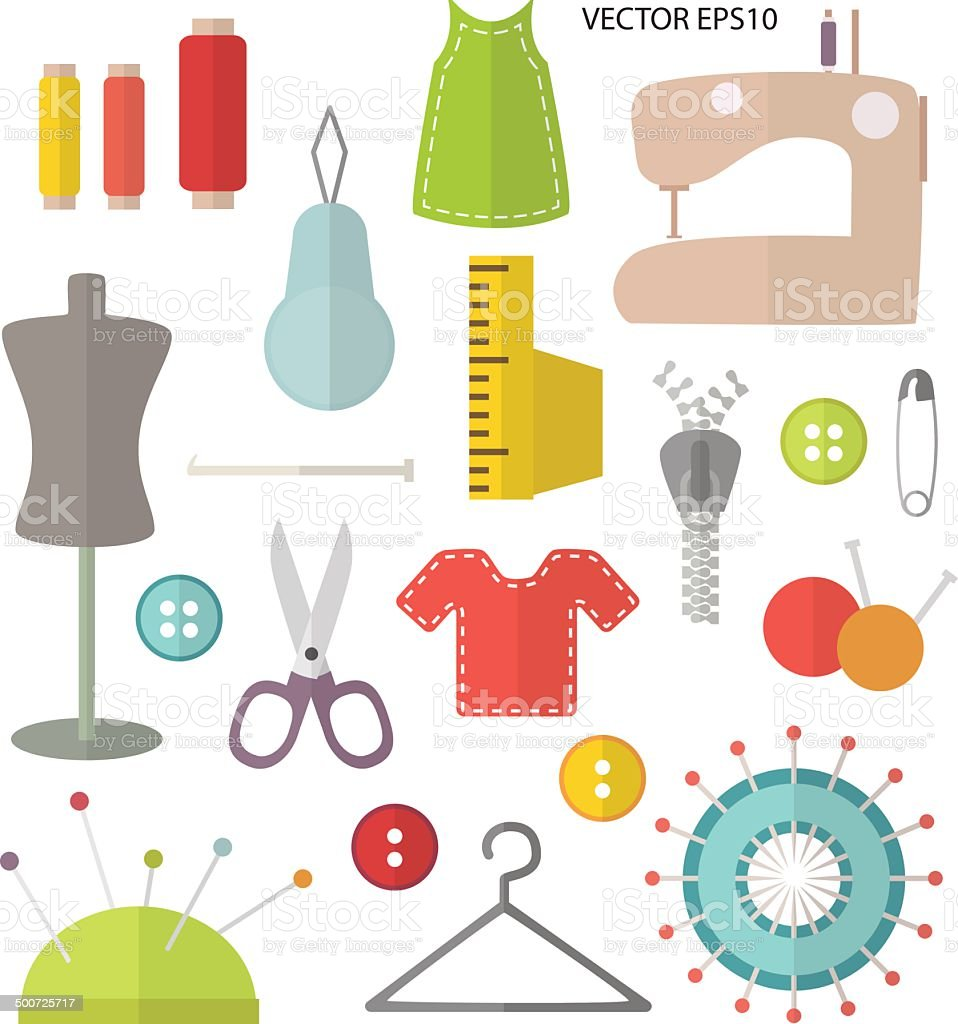 Sewing and stitching equipment flat design royalty-free stock vector art