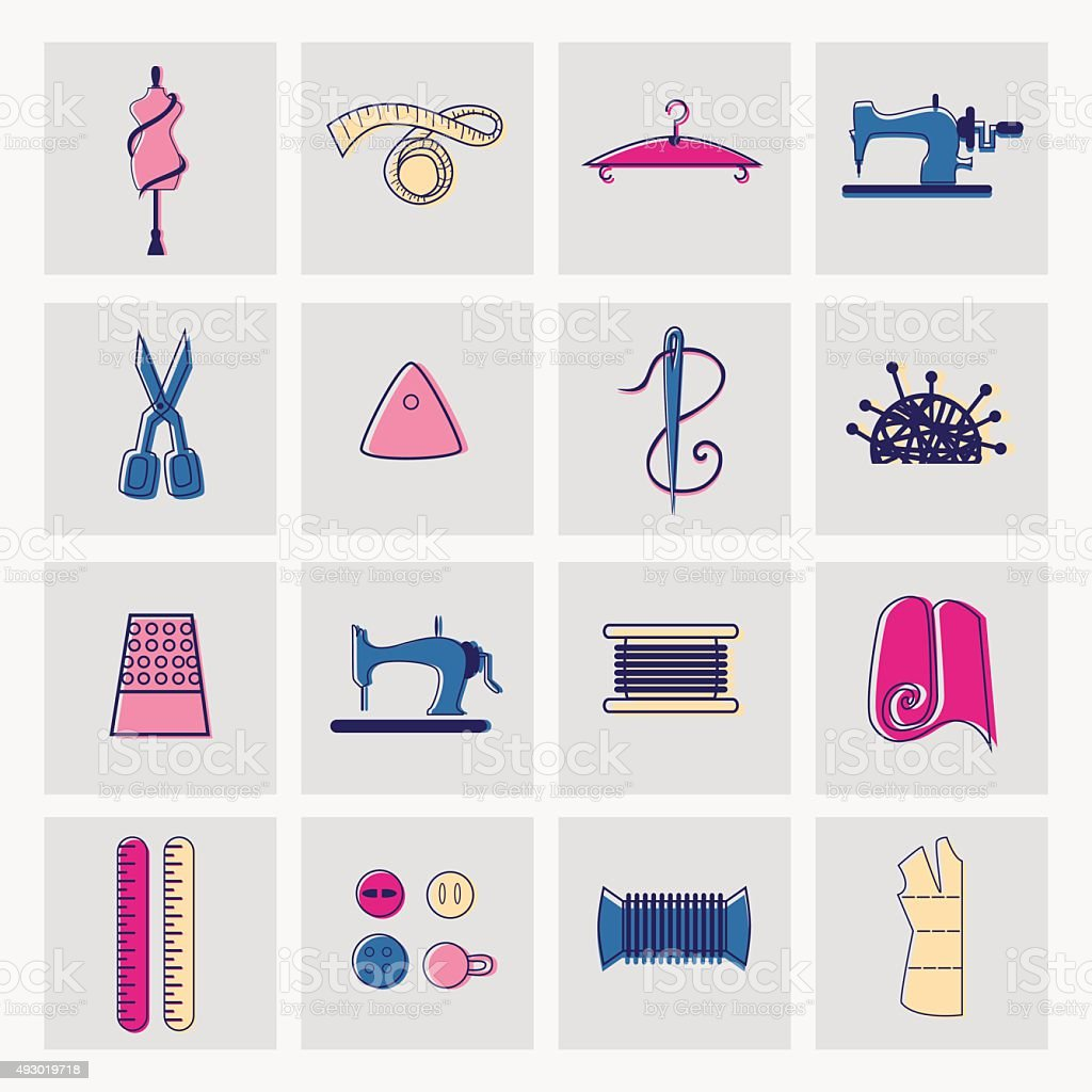 Sewing and tailor icons. vector art illustration