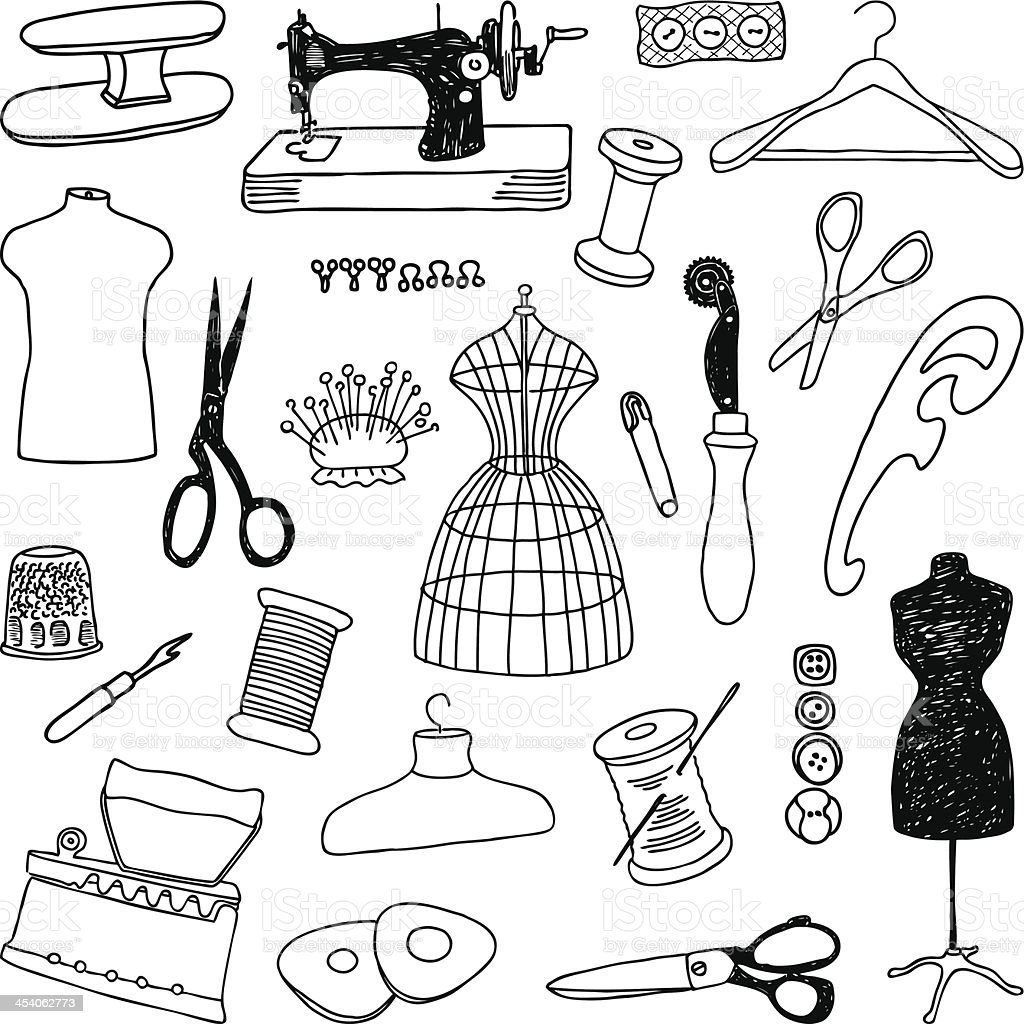 sewing doodle vector art illustration