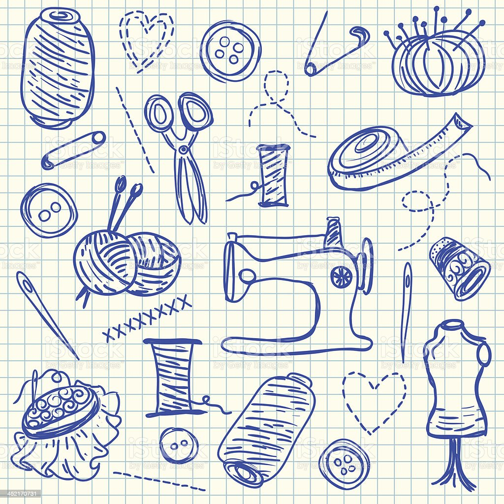 Sewing doodles royalty-free stock vector art