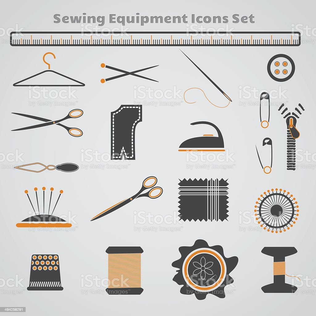 Sewing Equipment Icons Set royalty-free stock vector art