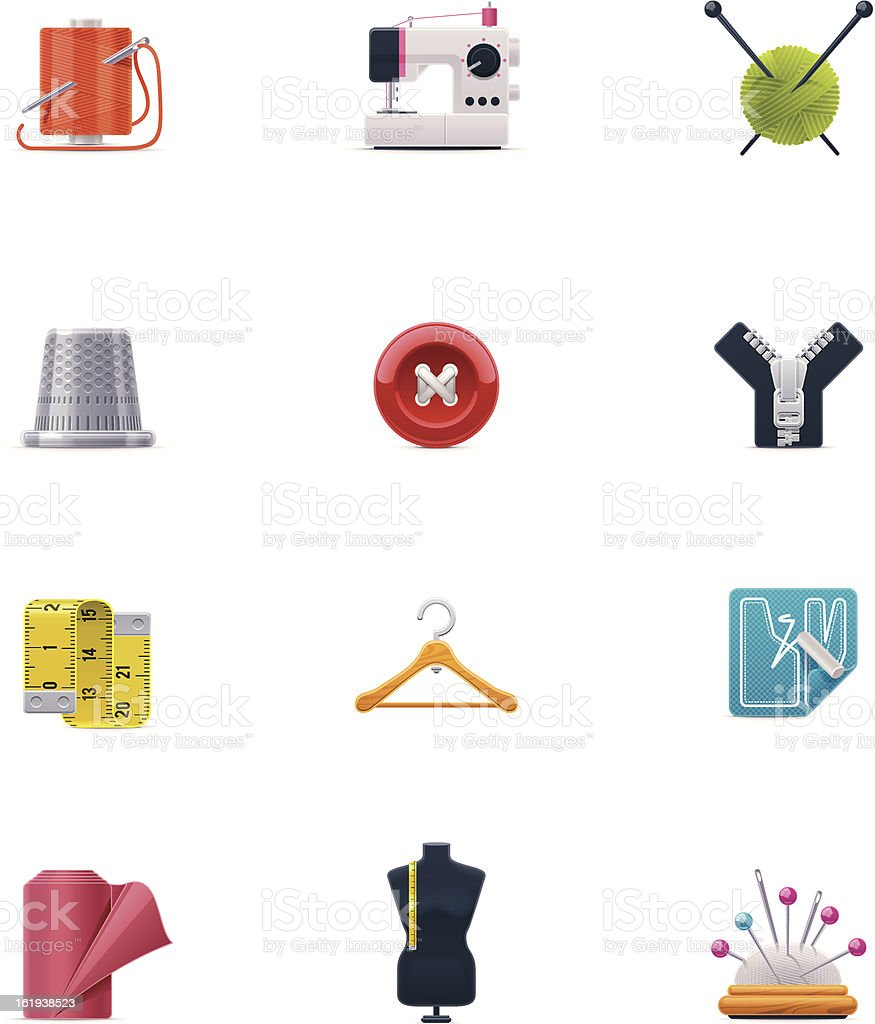 Sewing icon set vector art illustration