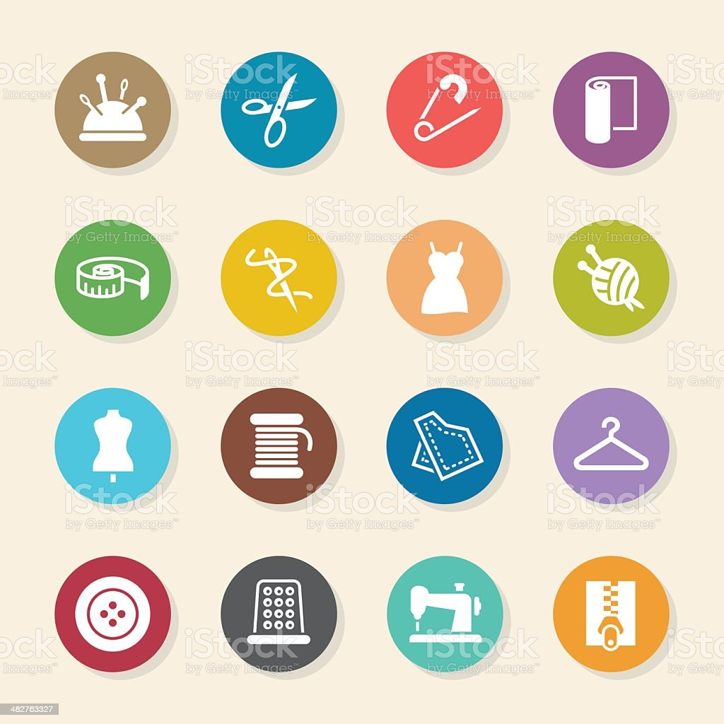 Sewing Icons - Color Circle Series vector art illustration
