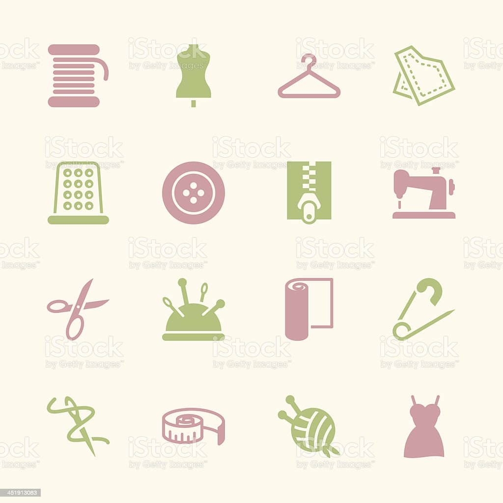 Sewing Icons - Color Series | EPS10 royalty-free stock vector art