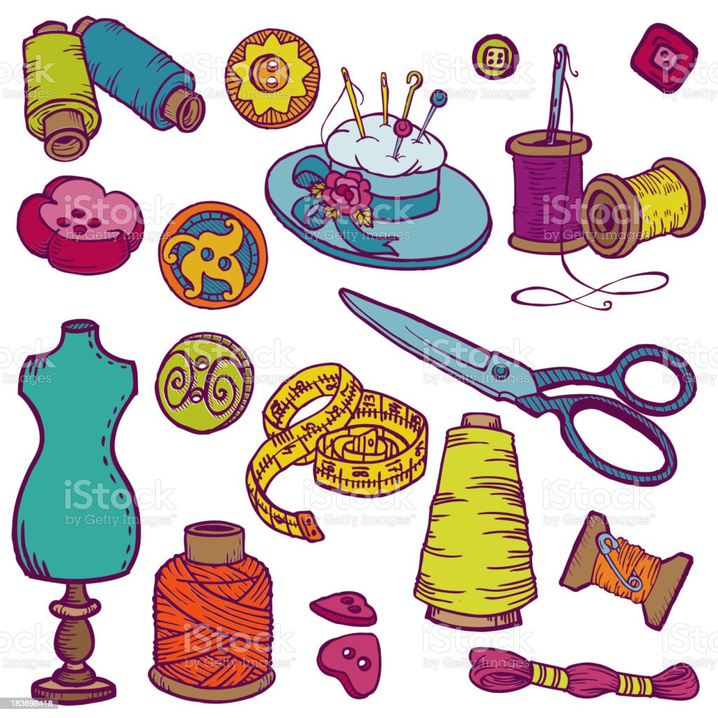 Sewing Kit Doodles - hand drawn royalty-free stock vector art