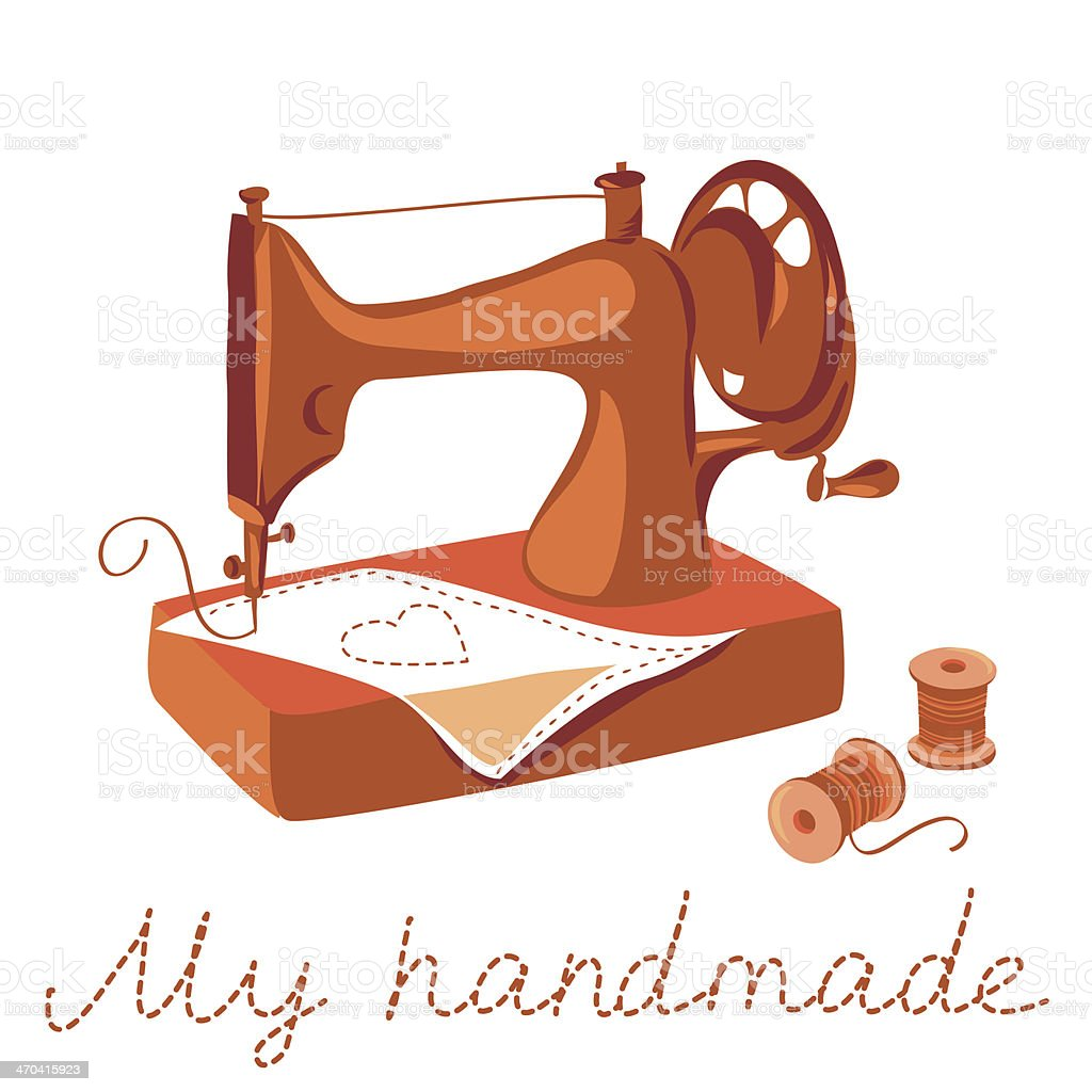 sewing machine and thread vector art illustration