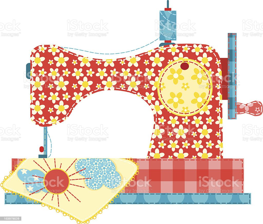 Sewing machine on white. royalty-free stock vector art