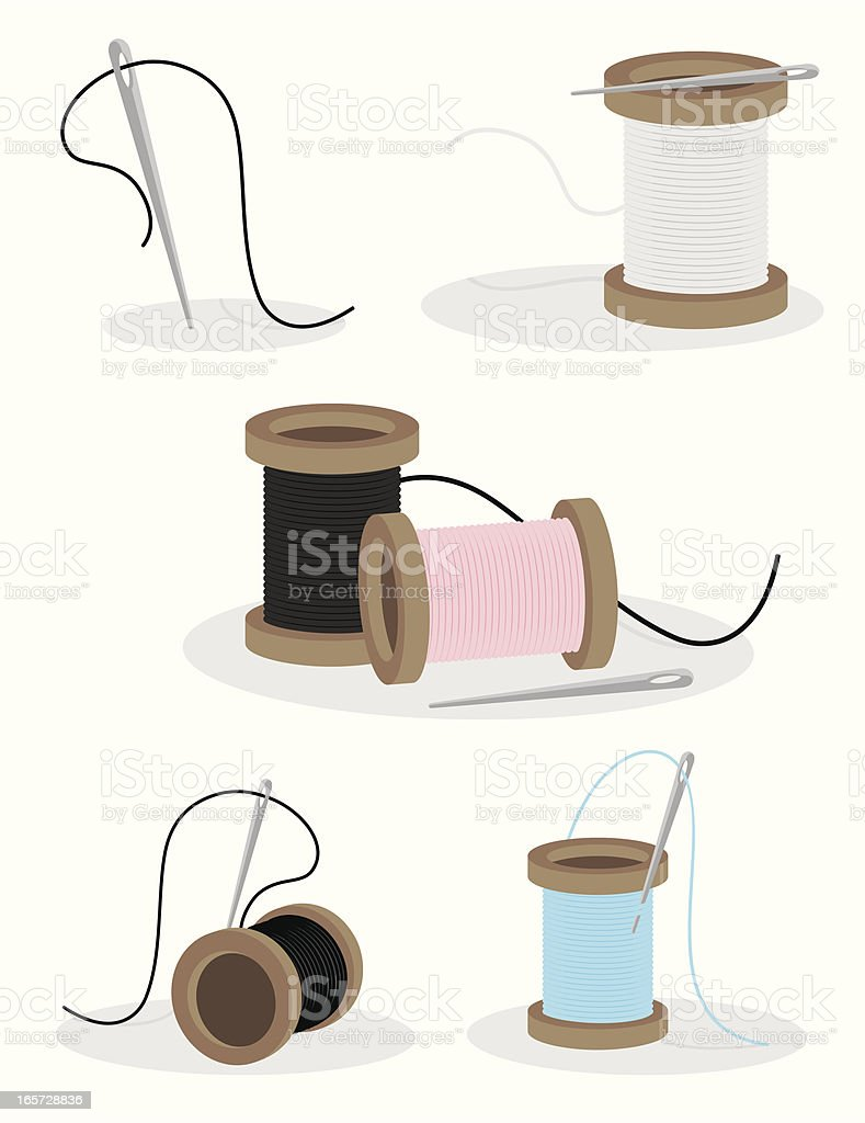 Sewing Needle and Thread royalty-free stock vector art