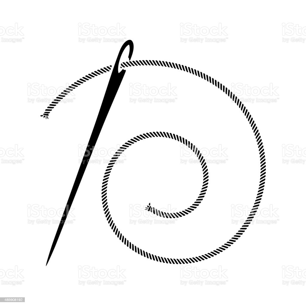 Sewing Needle Silhouette vector art illustration