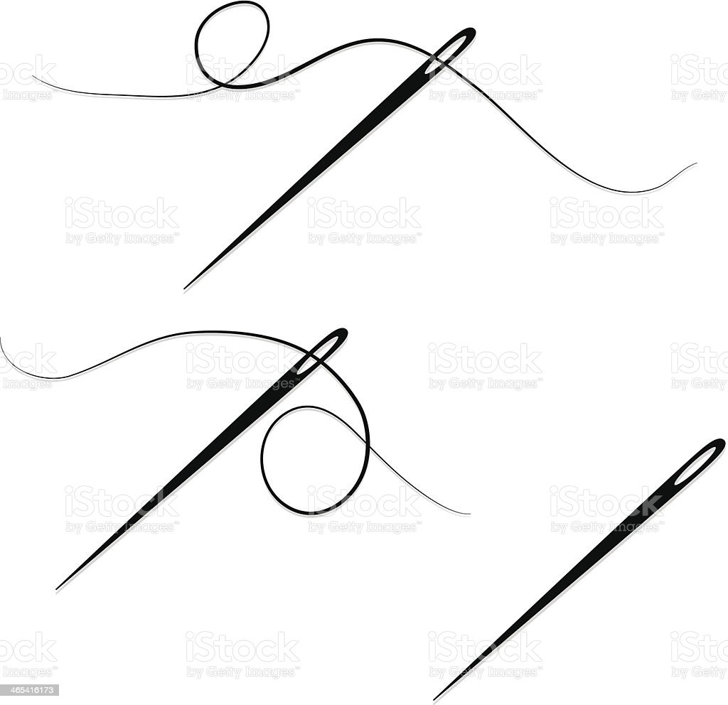 Sewing Needles and Thread Design Elements, Set, Icons vector art illustration