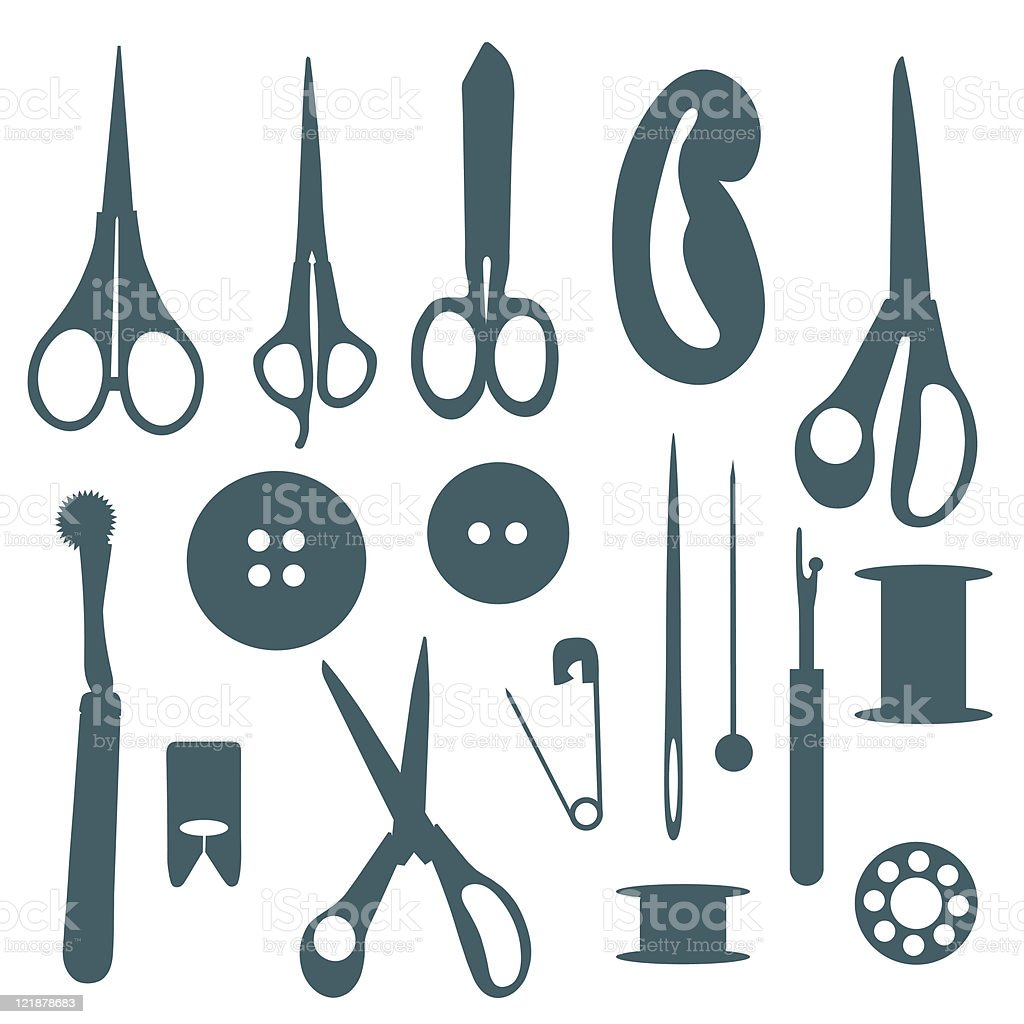 Sewing objects silhouettes set. royalty-free stock vector art