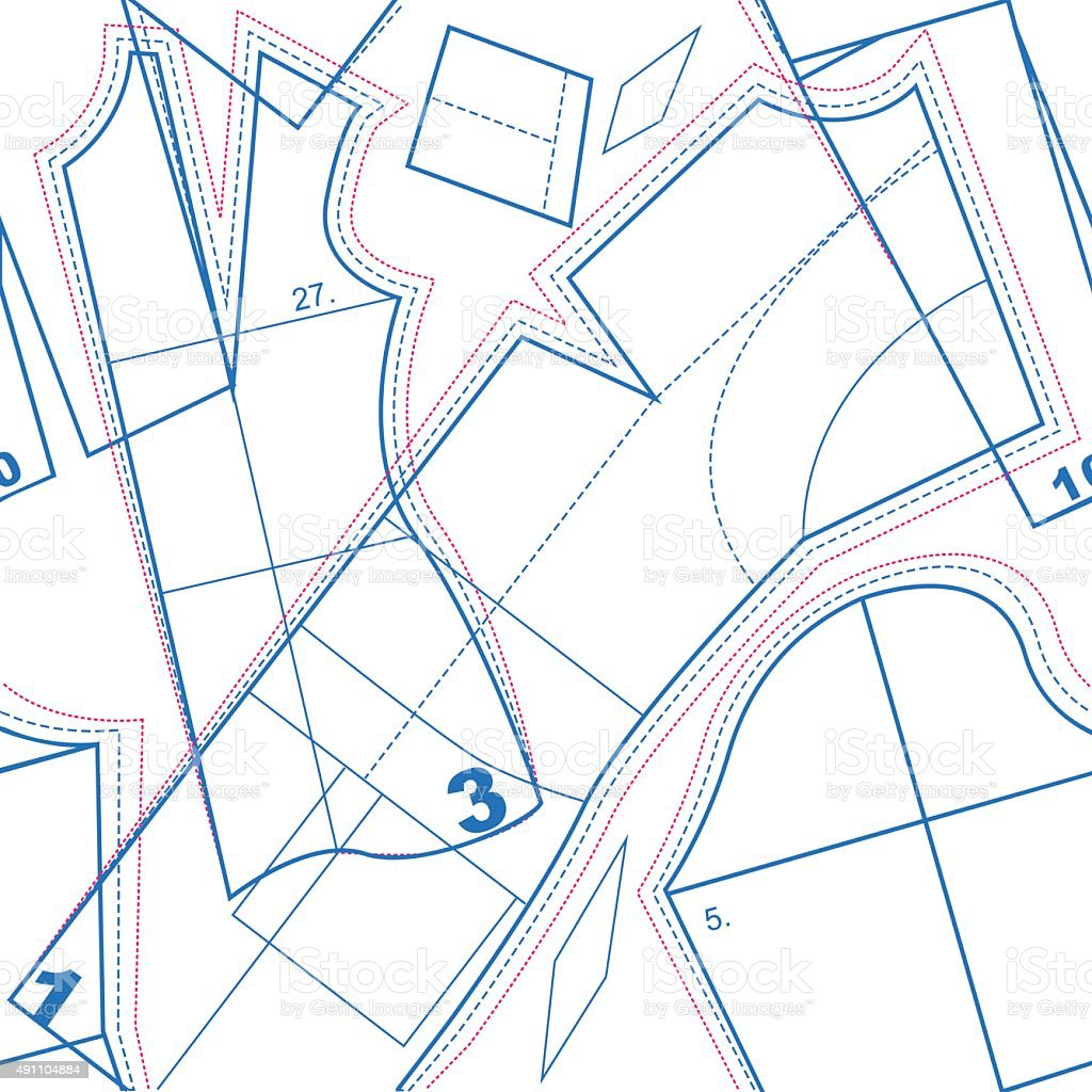 Sewing pattern. Seamless texture vector art illustration