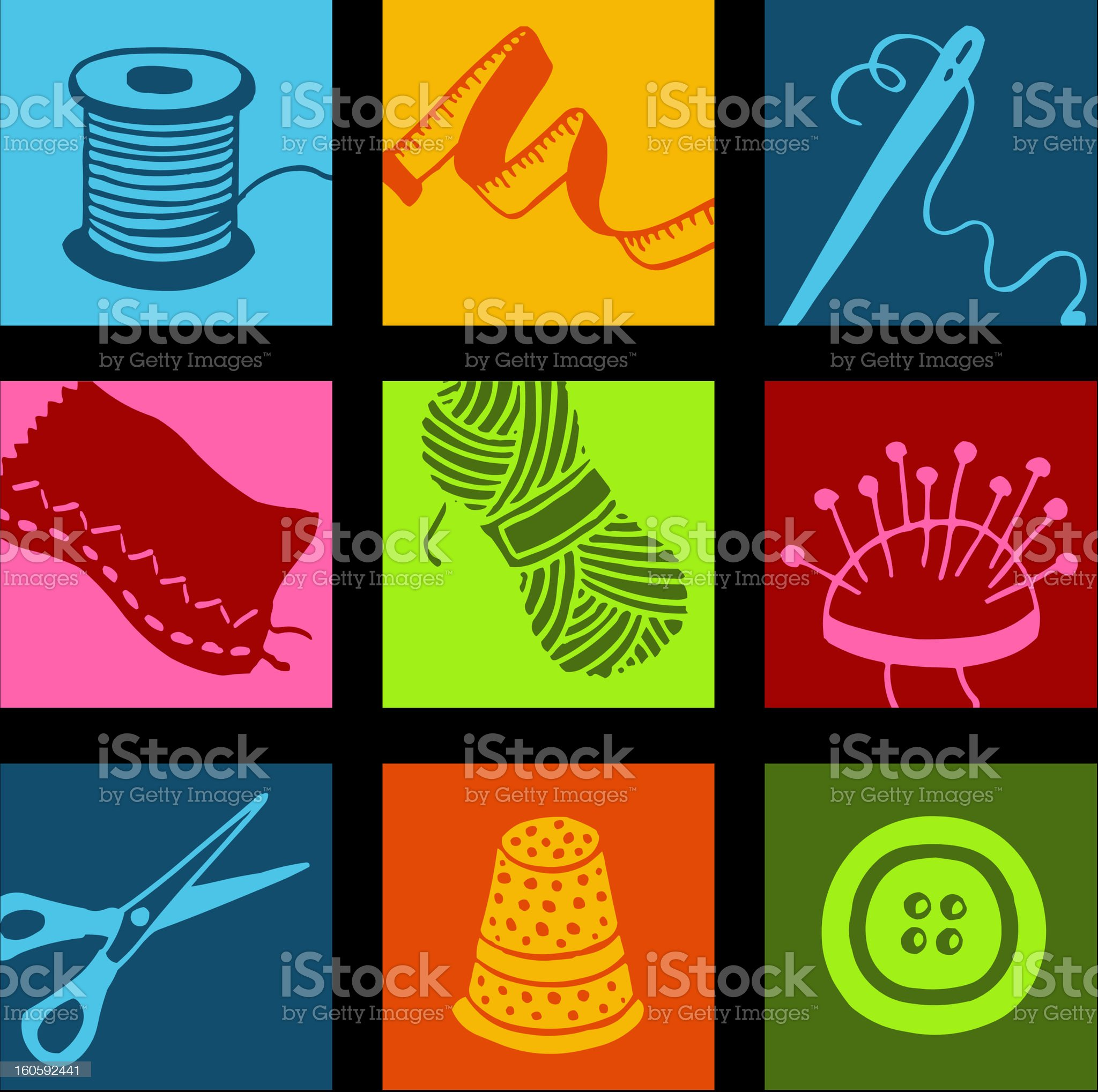 Sewing pop icons royalty-free stock vector art