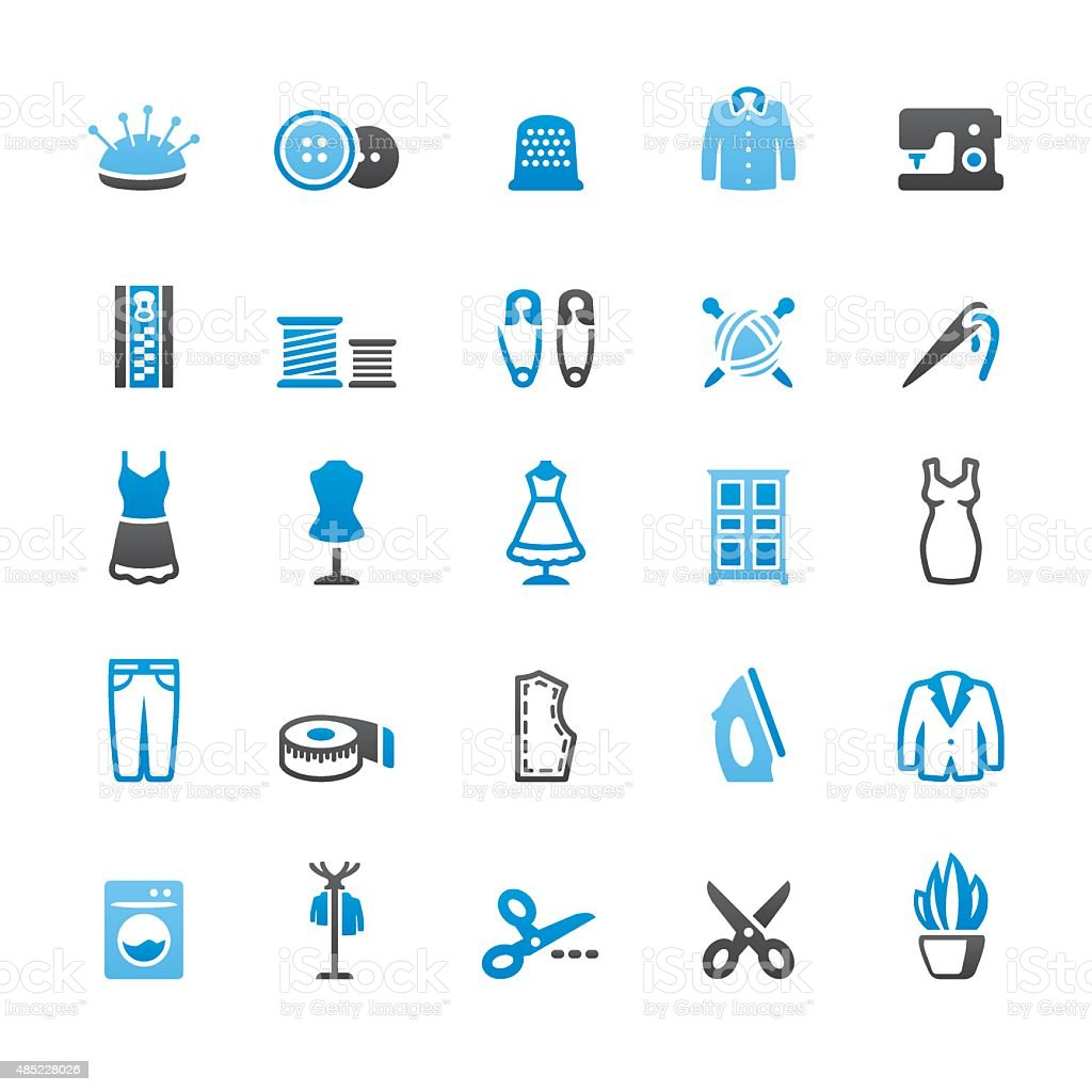 Sewing related vector icons vector art illustration