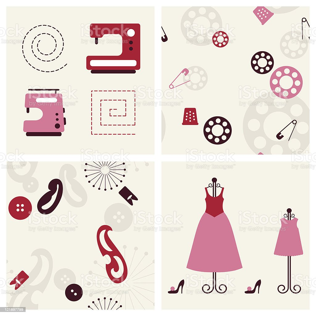 Sewing seamlesss backgounds and objects set. royalty-free stock vector art