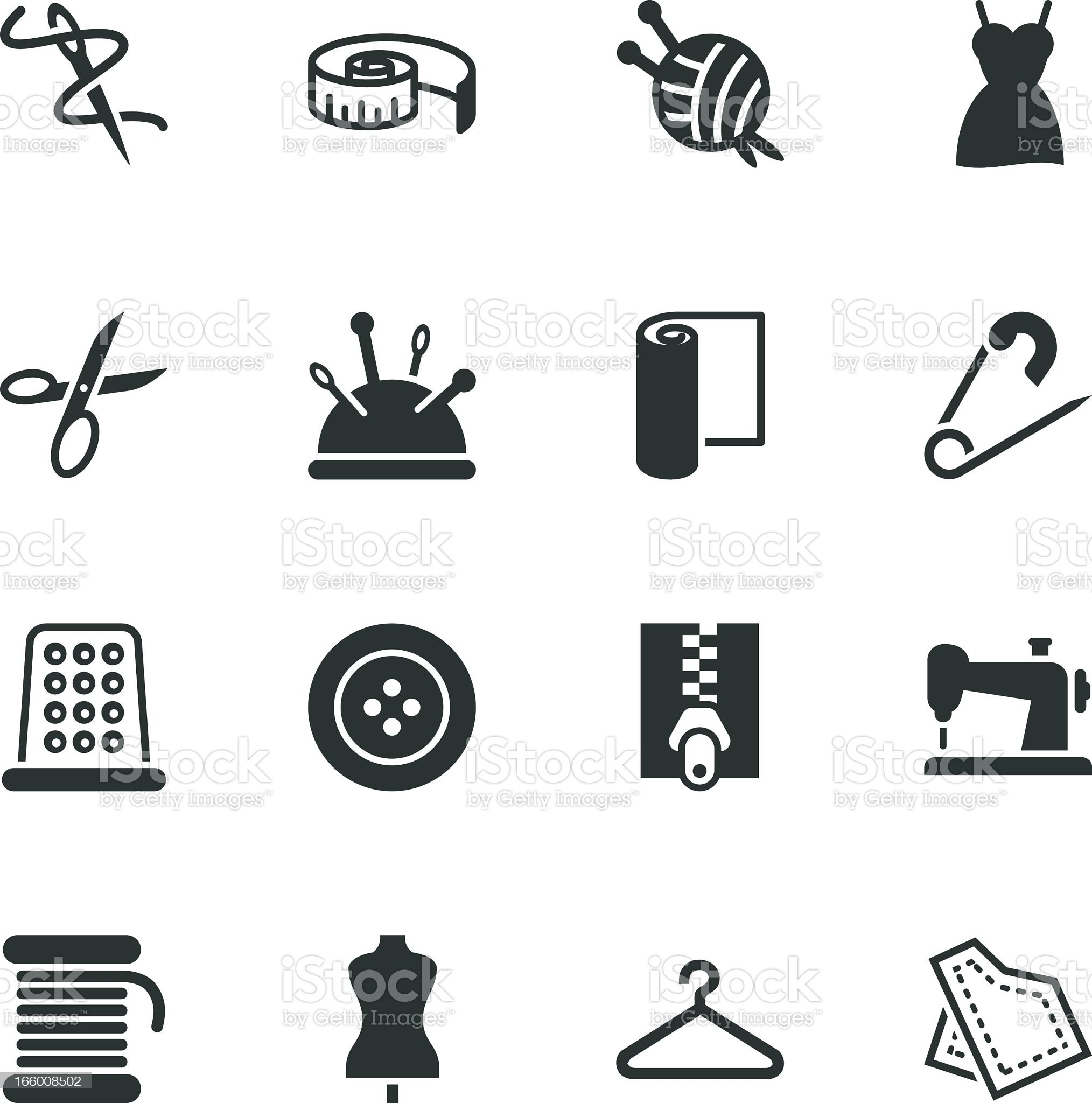 Sewing Silhouette Icons royalty-free stock vector art