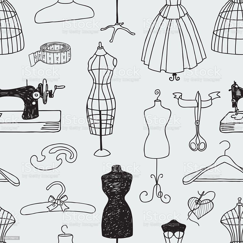 sewing studio vector art illustration
