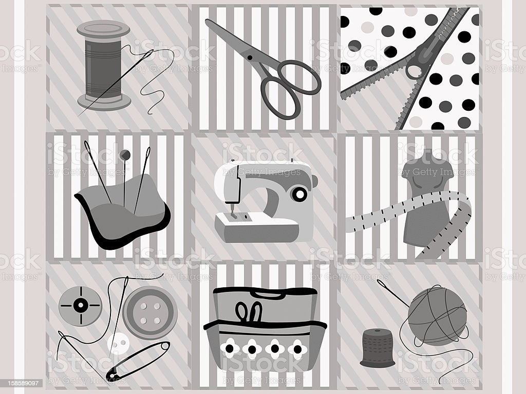 Sewing supplies royalty-free stock vector art