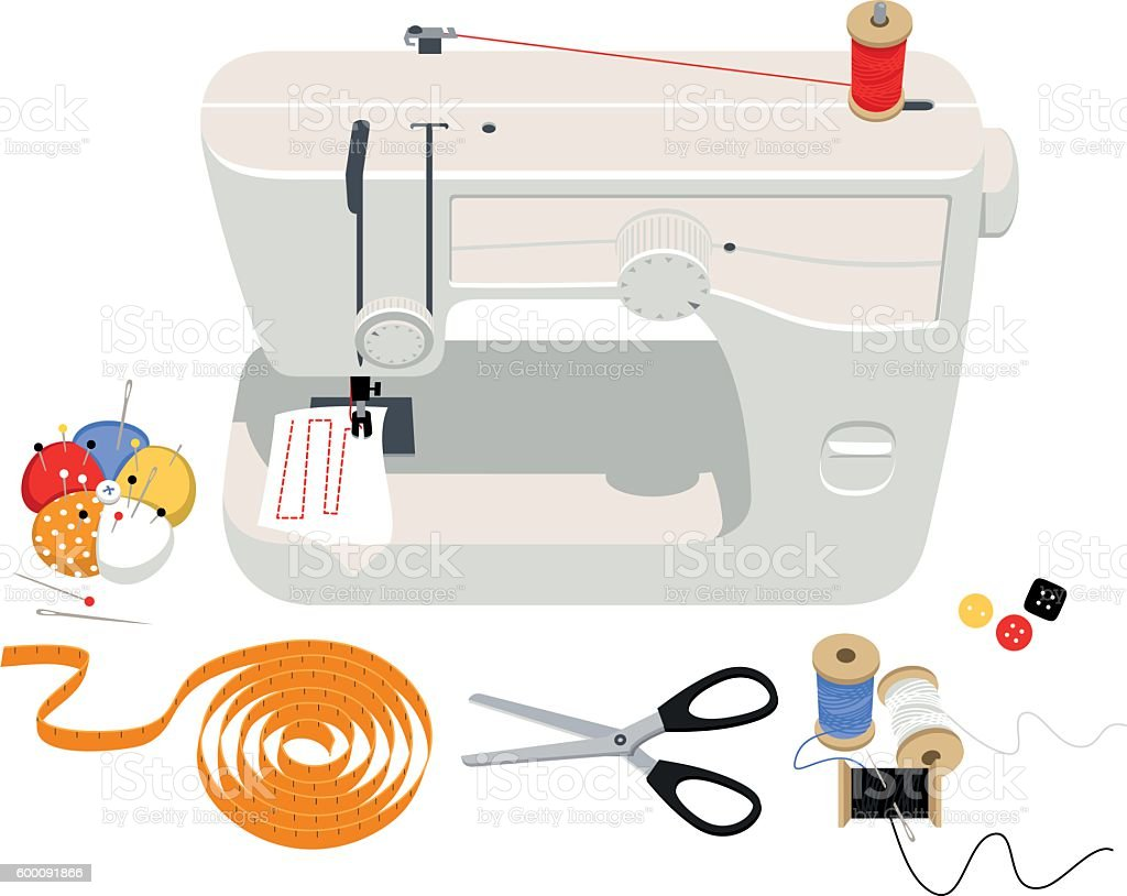 Sewing supplies vector art illustration
