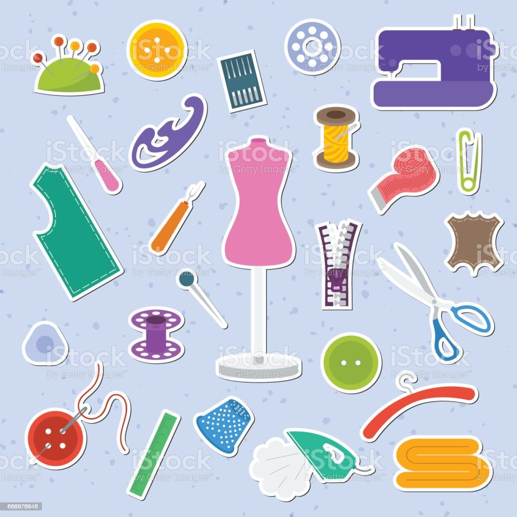 Sewing tools vector art illustration